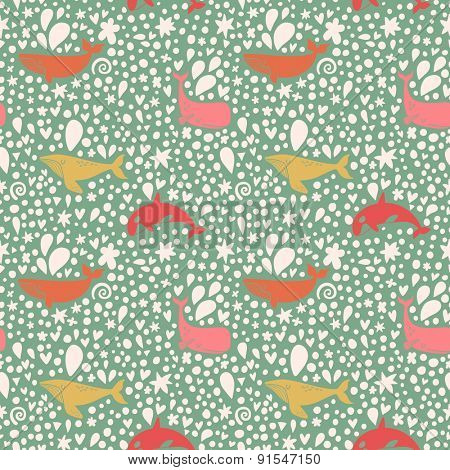Lovely seamless pattern with stylish whales in bright colors. Sweet underwater concept background in vector