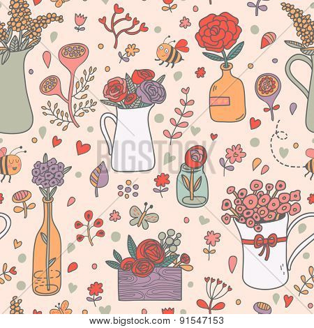Stunning floral seamless pattern made of different house plants in pink colors. Lovely flowers in pots. Sweet natural background in vector