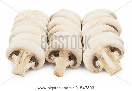 Three Row Of Raw Champignons Isolated On White