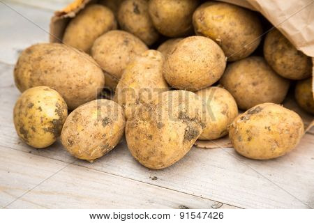 Potatoes On Wood