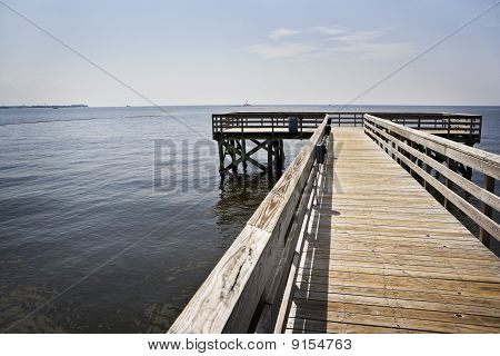 Oil Boom & Empty Pier, Gulf Coast
