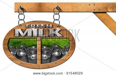 Fresh Milk - Wooden Sign With Chain