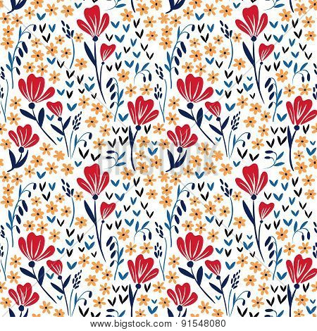 Seamless vector pattern with red and yellow flowers on white background