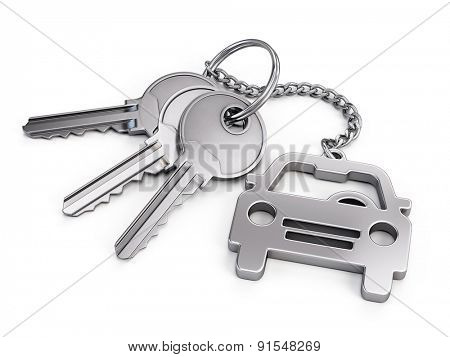 Car keys on white background