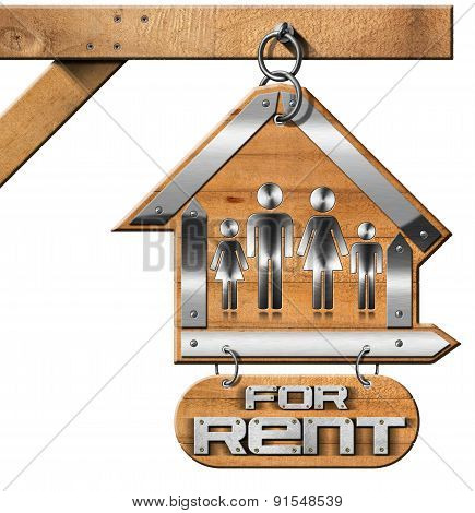 House For Rent Sign With Family And Chain