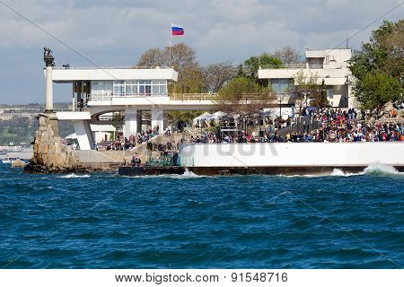 Sevastopol, Crimea - May 9, 2015: People Walk On The Waterfront 9 May 2015, Sevastopol