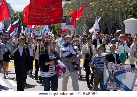 Sevastopol / Crimea - May 9, 2015: The Immortal Regiment Marches. The Parade In Honor Of 70Th Annive