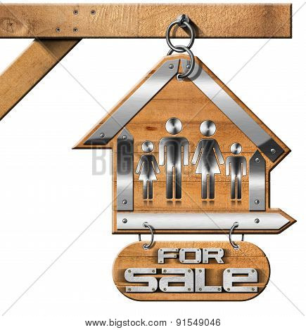House For Sale Sign With Family And Chain