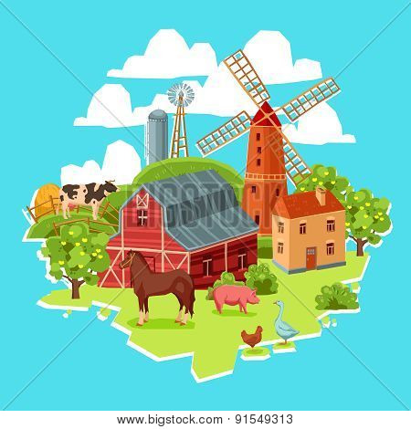 Farm multicolored concept