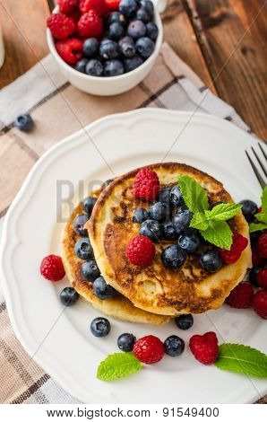 Pancakes With Forest Fruit And Mint