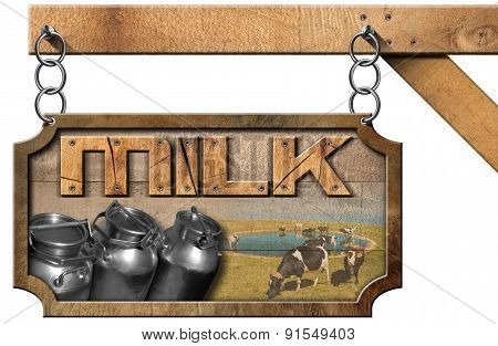 Milk Cans - Wood And Metal Sign With Chain