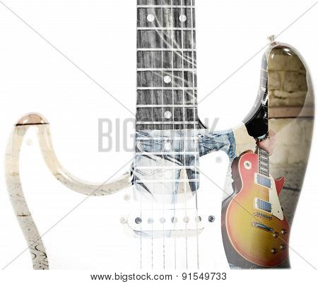 Man Holding A Guitar And Guitar Silhouette In Double Exposure
