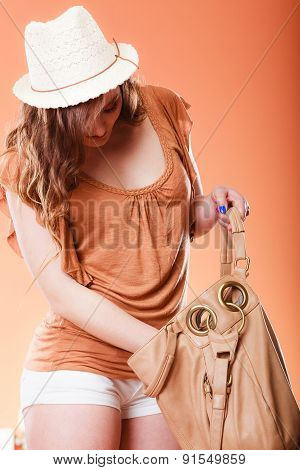 Lovely Woman In Summer Hat Handbag Portrait