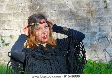 Hippy Girl With Colorful Necklaces Around Her Head