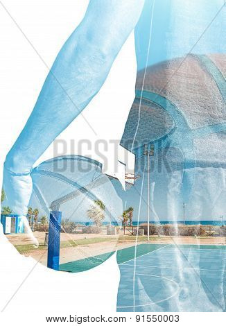 Double Exposure Of Basketball Player And Playground