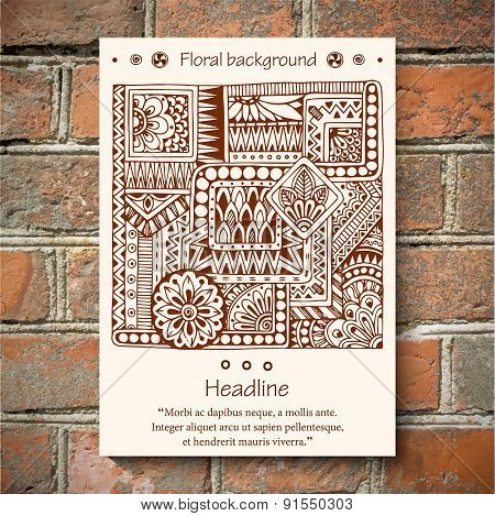 Tribal ethnic floral doodle pattern on brick wall background.