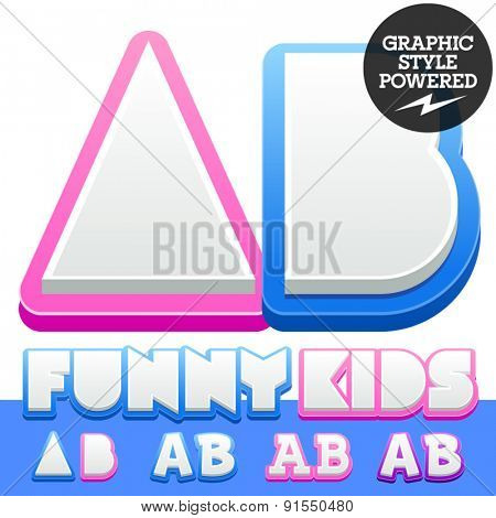 Vector cute alphabet for children. Nice white with blue  or pink letters and numbers for boys and girls. Letters A B