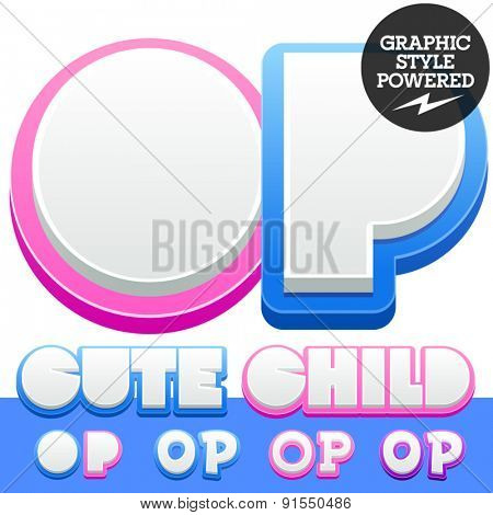 Vector cute alphabet for children. Nice white with blue  or pink letters and numbers for boys and girls. Letters O P