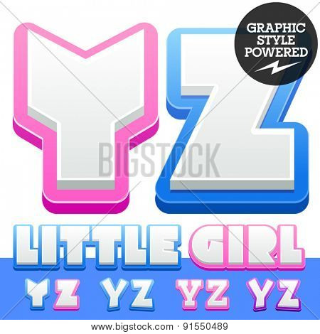 Vector cute alphabet for children. Nice white with blue  or pink letters and numbers for boys and girls. Letters Y Z