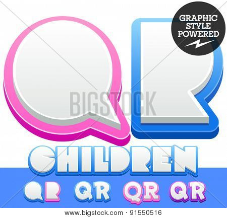 Vector cute alphabet for children. Nice white with blue  or pink letters and numbers for boys and girls. Letters Q R