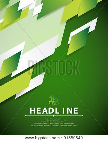 eps10 vector green embossed overlapping motion geometric elements hi-tech corporate business background