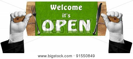 Welcome It Is Open - Sign With Hands Of Waiter