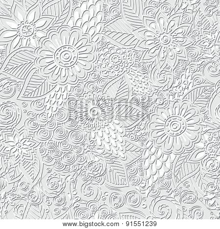 Seamless asian ethnic floral doodle black and white background pattern