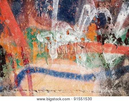 Zhitomir, Ukraine - April 27, 2015: Hooligan smeared paint the walls of the old building. Landscape