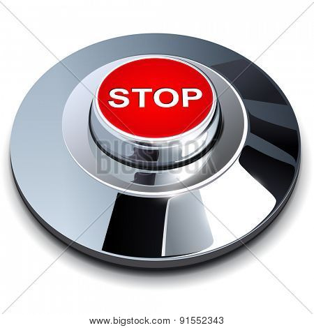 Stop button, 3d red chrome metallic