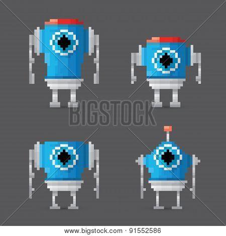pixel style robot set
