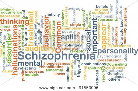 Background concept wordcloud illustration of schizophrenia