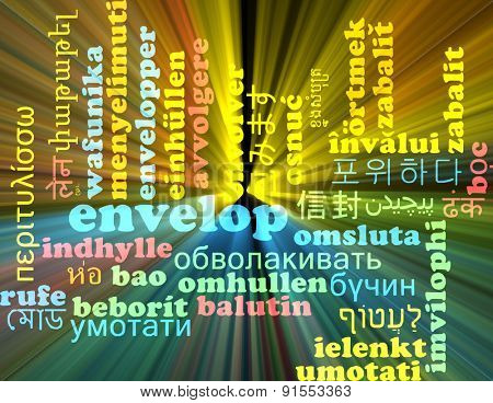 Background concept wordcloud multilanguage international many language illustration of envelop glowing light