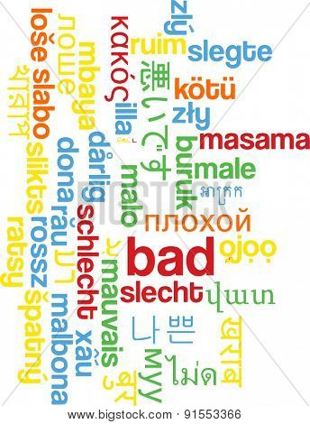 Background concept wordcloud multilanguage international many language illustration of bad