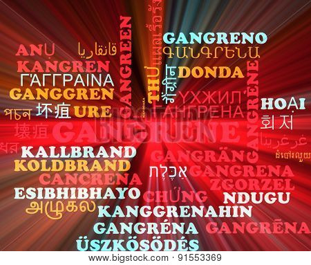Background concept wordcloud multilanguage international many language illustration of gangrene glowing light