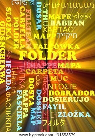 Background concept wordcloud multilanguage international many language illustration of folder glowing light