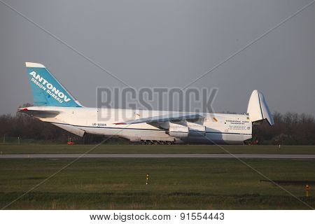 BUDAPEST, HUNGARY - APRIL 16: Antonov An-124 cargo plane at Budapest Airport (LHBP) on April 16, 2013. The An-124 is one of largest aircrafts in the world for transporting heavy cargo
