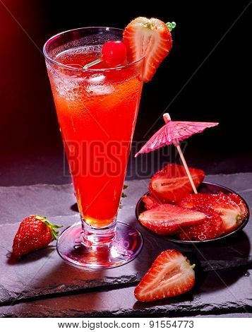 Strawberry cocktail with cherry and pineapple in highball glass . Cocktail card 54.
