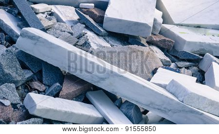marble waste used to stabilize river bank