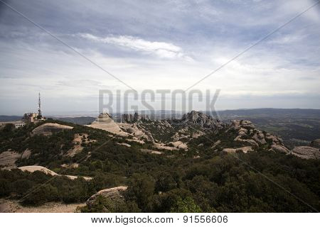 View from the Sant Jeroni summit of Montserrat mountains, Spain