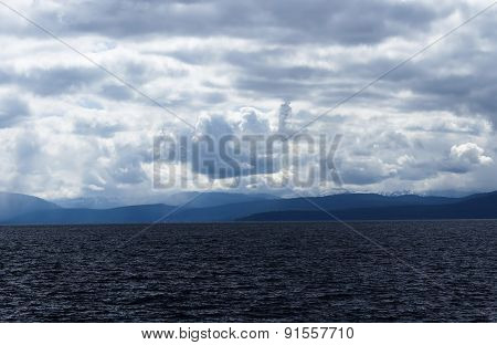 Storm Clouds Over Lake Tahoe California And Mountains