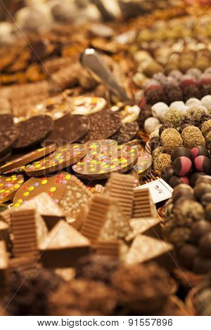 Gourmet assorted sweets on the market