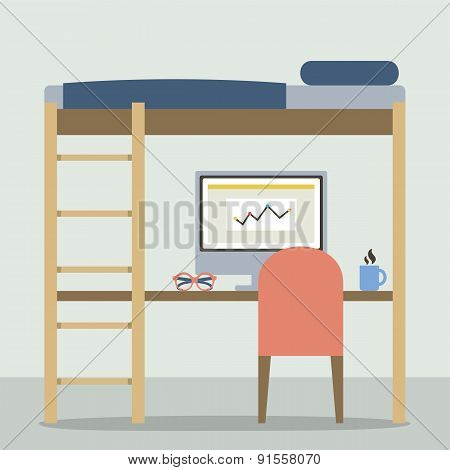 Flat Design Empty Bunk Bed With Workspace.