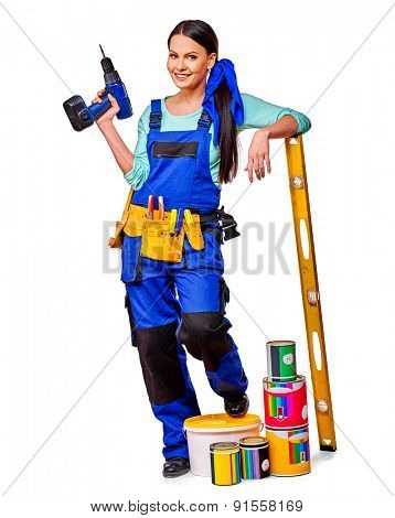 Woman builder  holding level and construction tools. Isolated.