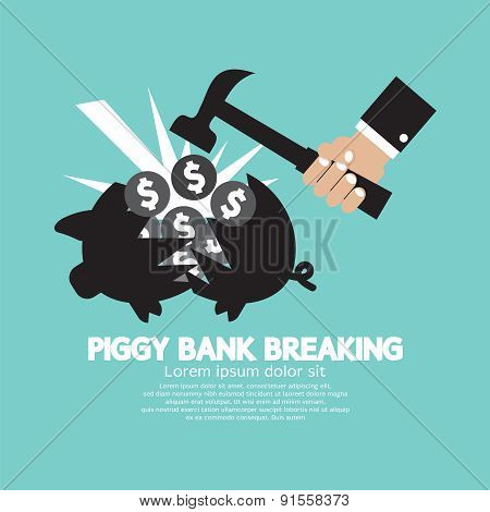 Piggy Bank Breaking By Hammer.
