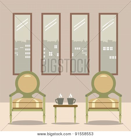 Flat Design Empty Chairs With Hot Coffee Cup On Table.