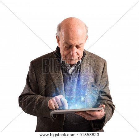 Senior uses tablet