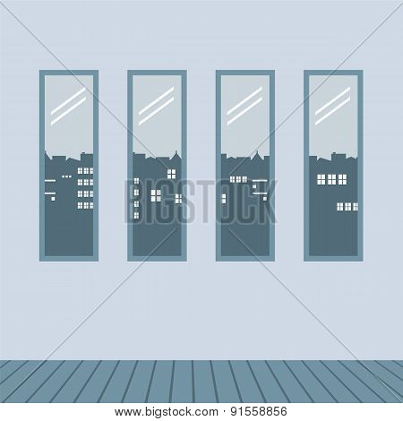 Four Glasses Windows With Wooden Floor.