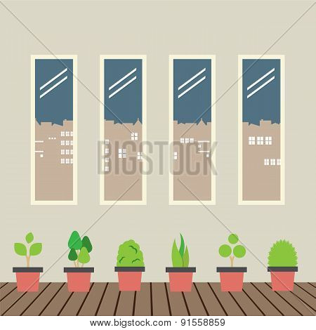 Four Glasses Windows With Pot Plants On Wooden Floor.