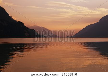 swiss lake at sunset in brienz, Switzerland