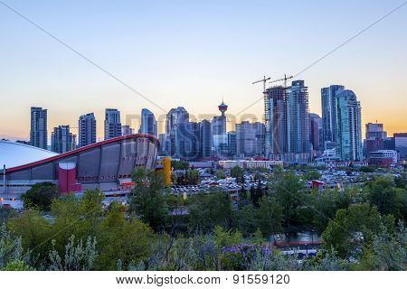 Sunset Over Calgary Downtown